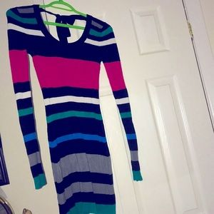 Guess Jeans Colour-Block Striped Long Sweater